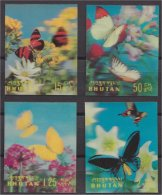 BHUTAN , FOUR 3-D STAMPS BUTTERFLIES 1968 VF MNH - Bhoutan