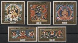BHUTAN, RARE, UNDERVALUED THANKA / THANGKA BUDDHA SET ON SILK - Bhoutan