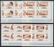 SENEGAL,  SET IN BLOC OF 4, POSTCARD OF 1900, 1988, IMPERFORATED, MNH - Sénégal (1960-...)