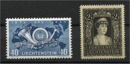 LIECHTENSTEIN, 2 GOOD STAMPS 1947-49 2 Francs Princess Elsa Mourning, 40 Centimes UPU 1949  MNH