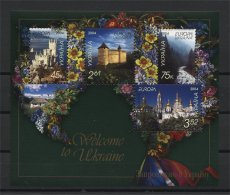 Ukraine 2004 Europa CEPT Visit Flowers Architecture Castles S/S MNH** - Ukraine