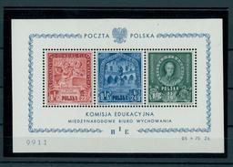 POLAND, BIE SOUVENIR SHEET 1946, POST OFFICE FRESH,  BEST POLISH SOUVENIR SHEET - RARE!