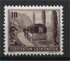 LIECHTENSTEIN, STAGE COACH STAMP FROM SOUVENIR SHEET 1946, MNH