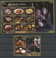 BHUTAN, FOOD  2 SOUVENIR SHEETS, MNH - Bhoutan
