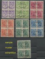 LIECHTENSTEIN,  SET 1917-18 USED BLOCKS OF 4