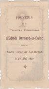 EDMÉE BERNARD LE-SAINT. Souvenir De Première Communion, 1909, SAINT SÉBASTIEN (San Sebastian, Donastia, Pays Basque). - Communion