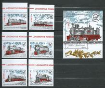 Romania 2002 Old Romanian Locomotives.Mi - 5681/86.and 5687 ( Bl.323 ).MNH