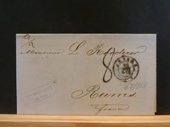 68/868  LETTRE ANVERS  1856  + CACHET BLEU AMB.  TAXE 8  POUR REIMS - Belgium
