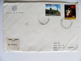 Cover Sent From Paraguay 1981 Registered Railway Train Locomotive Art Flowers - Paraguay