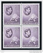 SEYCHELLES:  1941  GIORGIO  VI° -  75 C. VIOLETTO  BL. 4  T.L. -  YV/TELL. 140 - Seychellen (...-1976)