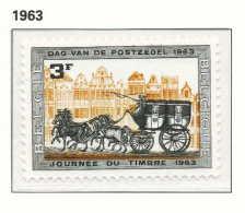 [1249] Belgique 1963, Journée Du Timbre, Malle-Poste, Diligence, SNC