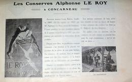 1923 Conserves Le Roy Concarneau Finistére Bretagne Pêche - Article Publicité - Press Cutting - Other