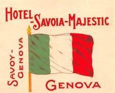 """D5892 """"HOTEL SAVOIA MAJESTIC - GENOVA - ITALIA""""  ETICHETTA ORIGINALE - ORIGINAL LABEL - Adesivi Di Alberghi"""