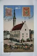 Old Postcard Estonia - Tallinn. Raekoda. Reval. Rathaus - Old Carriages - 1922 - Estonia
