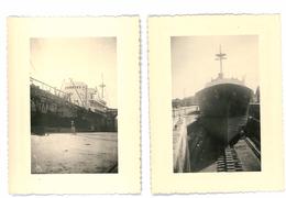 2 PHOTOS DE BATEAU SUR CALE A BAYONNE EN 1959 PYRENEES ATLANTIQUES 64 - Bayonne