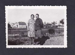 Photo Originale Snapshot Antoinette Et Albert Stahl 6è G.A.A.10è Bat.Section Topographique Permission Herrlisheim - Guerre, Militaire