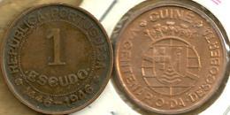 GUINEA BISSAU GUINE  PORTUGUESE 1 ESCUDO  EMBLEM FRONT 500 YEARS BACK 1946 KM7 F READ DESCRIPTION CAREFULLY!!! - Guinea-Bissau