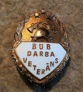 Badge. Latvia. Volunteer Fire Service - Labor Veteran. - Firemen