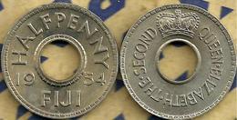 FIJI BRITISH 1/2 PENNY DENOMINATION FRONT QEII NAME BACK 1954 1 YEAR ISSUE VF KM? READ DESCRIPTION CAREFULLY !!! - Fiji