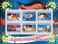 GUINEA 2008 SHEET EURO CUP GERMANY GERMAN FOOTBALL PLAYERS SWITZERLAND AUSTRIA SOCCER HAYDN COMPOSERS Gu0801 - Guinea (1958-...)