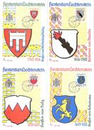 """Liechtenstein 1964: MK """"Wappen I"""" Mit Zu 375-378 Mi 440-443 Yv 389-392 Mit ET-o VADUZ 1.9.64 - Cartes-Maximum (CM)"""