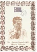 FEUILLET SUR SOIE 1987 JACQUES MONOD  MEDECIN BIOLOGISTE PRIX NOBEL - Medizin