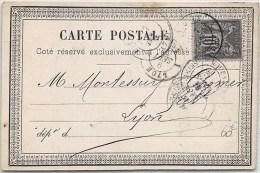 CARTE POSTALE PRECURSEUR PRIVEE AU TYPE SAGE DE ROUEN => LYON  FRANCE LETTRE COVER - Postmark Collection (Covers)