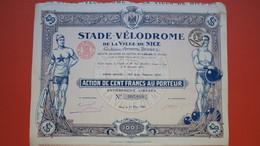 Actions De 100 Francs Au Porteur - Stade Vélodrome De La Ville De Nice 25 Coupons   N° 07,810 - Transports