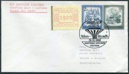 1986 Austria / Saudi Arabia Austrian Airlines First Flight Cover. Wien - Riyadh ATM FRAMA - Airmail