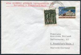 1968 Greece Germany. Olympic Airways First Flight Cover Saloniki - Frankfurt - Airmail