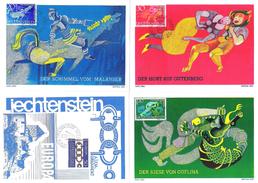 """Liechtenstein 1965/67: MK """"Europa & Sagen I"""" Mit Zu 389+410-412 Mi 454+475-477 Yv 398+422-424 Mit ET-o - Cartes-Maximum (CM)"""