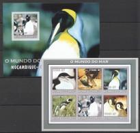 RR54 !!IMPERFORATE 2002 MOCAMBIQUE-CORREIOS FAUNA BIRDS PENGUINS DO MAR KB+BL MNH