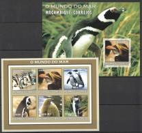 RR56 !!IMPERFORATE 2002 MOCAMBIQUE-CORREIOS FAUNA BIRDS PENGUINS DO MAR KB+BL MNH