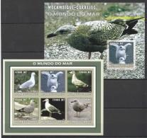 RR55 !!IMPERFORATE 2002 MOCAMBIQUE-CORREIOS FAUNA BIRDS O MUNDO DO MAR KB+BL MNH
