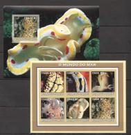 RR57 !!IMPERFORATE 2002 MOCAMBIQUE-CORREIOS FAUNA MARINE LIFE O MUNDO DO MAR KB+BL MNH