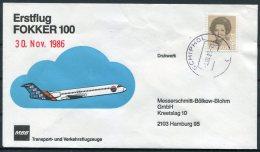 1986 Netherlands Holland Erstflug Fokker 100 Schipol MBB Flight Cover - Period 1980-... (Beatrix)