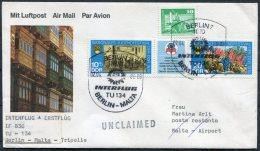 1986 DDR Erstflug Interflug First Flight Cover Berlin - Malta