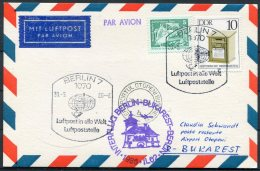 1986 DDR Interflug First Flight Card Berlin - Bukarest Romania
