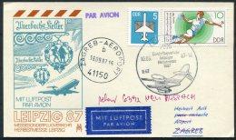 1987 DDR Leipzig Messe Luftpost Flight Postcard - Zagreb