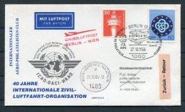 1984 DDR Austria Grussluftpost Berlin - Wien AIRPHILA '84 United Nations 40th Anniversary ICAO Flight Cover
