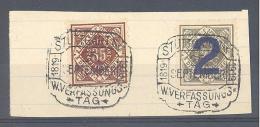 """WÜRTTEMBERG  Michel #   Dienst 132 + 133  Auf Briefstück Mit SST  """"STUTTGART  W. Verfassungstag 1918 1919 25 September"""