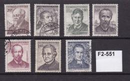 Czechoslovakia 1955 Cultural Portraits 7 Values Complete