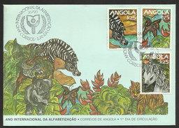 Angola FDC 1990 Année D'alphabétisation Mondiale Zèbre Papillon FDC World Literacy Year 1990 Zebra Butterfly