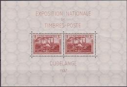 Lussemburgo 1937 Esposizione Filatelica Dudelange Sheet 2 MNH