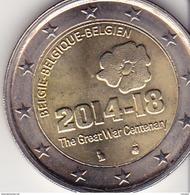 P2Bel1- 2 Euros Belgique : Centenaire Du Début De La 1° Guerre Mondiale. - Belgique