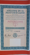 Action De   50 F Au Porteur - Ateliers De La Motobécane TBE  N° 1,328,390,  30 Coupons - Transports