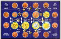 Gibilterra/Gibraltar: Introduzione Dell'euro, Introduction Euro, Introduction Euro, Foglietto, Block, Bloc - Münzen