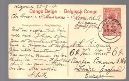 CONGO ENTIER Stibbe Nr 43 -obl KIGOMA 1917 Vers UK - RR - BC1 - Stamped Stationery