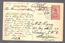 CONGO ENTIER Stibbe Nr 43 -obl KIGOMA 1918 Vers UK - RR - BC1 - Stamped Stationery
