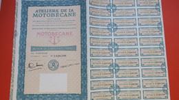 Action De   50 F Au Porteur - Ateliers De La Motobécane TBE  N° 1,328,590 à 1,328,591 (2 N° Differents) De 30 Coupons - Transports
